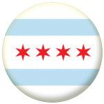 Chicago, Illinois Flag 25mm Button Badge